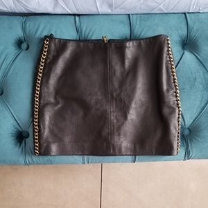 Leather skirt with chain on side